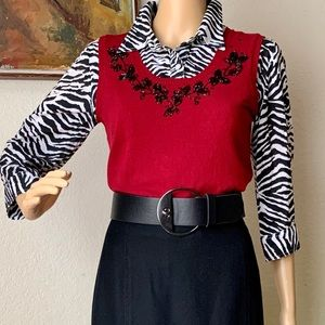 EUC DressBarn Red Black Embroidered vest sweater